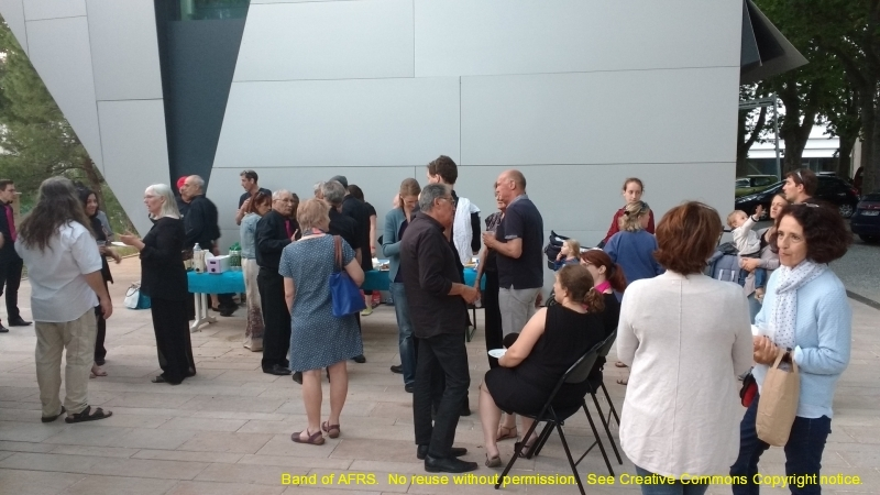 An informal reception after the concert, where members of both bands could share stories