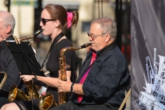 The tenor sax section of the joint bands